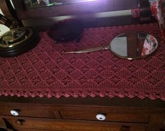 Crocheted bamboo runner, doily, dresser scarf