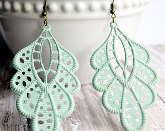 Mint Green Hand Painted Brass Earrings Boho Jewelry Large Earrings Lightweight Earrings Mint Earrings