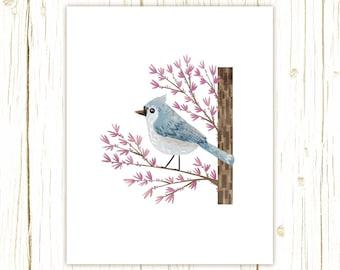 Tufted Titmouse Print -- bird art -- bird art 52 birds stephanie fizer coleman illustration blue purple redbud
