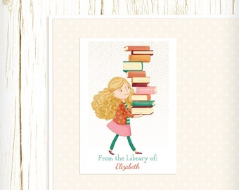 Personalized Bookplates - Library Girl 2 - Set of 18 - childrens bookplates teacher librarian gift reader reading blonde