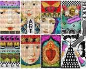 ART TEA LiFE Paper Doll Cards Collage Sheet digital file clip art decoupage journal invitation scrapbook card gift tag download shrine