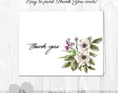 PRINTABLE Thank You Cards White Watercolor Floral  - Holiday or Any Occasion - Printable