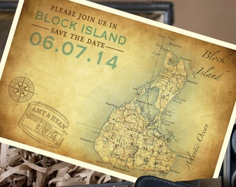 Vintage Map Postcard Save the Date (Block Island) - Design Fee