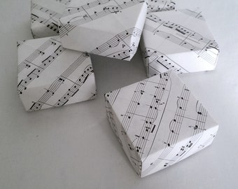 Origami Gift Storage Boxes Handmade With Vintage Music Sheet Paper
