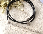 20 Inch 2MM Black Leather Necklace With  Silver Tone Clasp - Black Rubber Necklace - Sterling Silver Clasp - Necklace - Black 080214rn100