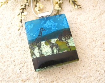 Giraffe Necklace, Fused Dichroic Glass Jewelry, Dichroic Pendant, Dichroic Fused Glass Jewelry,Mother & Baby Necklace, Safari 042915p117