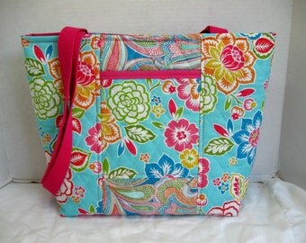 Quilted Tropical Floral Purse - Hawaiian Flowers Large Quilted Tote Bag - Turquoise Pink Handbag - Outside Pocket