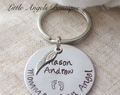 Daddy of an angel OR Mommy of an angel Remembrance Memorial Custom Hand Stamped Keychain with Heart and Wing Stillborn Miscarriage