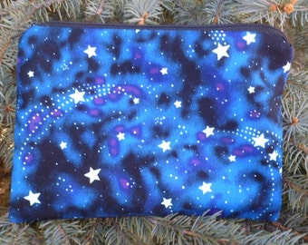 Stars make up bag, makeup case, accessory bag, zippered pouch, zippered bag, Glow in the Dark Stars, The Scooter