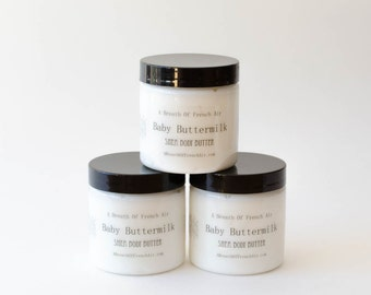 Baby Buttermilk Body Butter / Travel Sample Size / Vegan Moisturizer / 2 Ounce  Whipped Facial Cream / Handmade Lotion / Scented Moisturizer