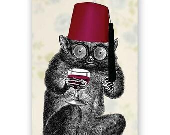 Fez - Blank Card - Drinking - Funny - Humor - Food - Weird