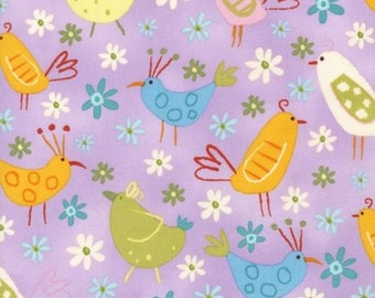 Amy Schimler, On Whim, Chick Bird Summer Purple OOP Fabric - Half Yard