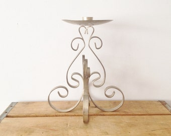 Silver Candle Holder Centerpiece - Decorating - Floral Holder