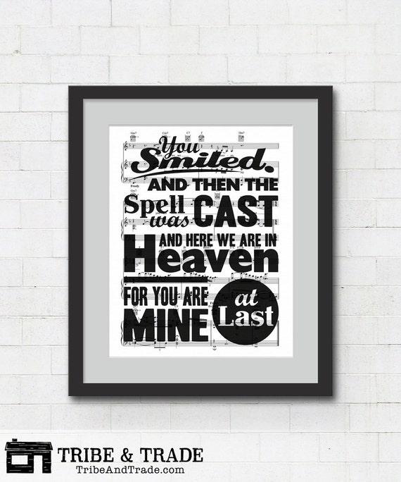 Dancing On My Own Sheet Music With Lyrics: At Last Song Lyrics Wall Art Etta James Lyrics On Sheet