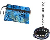 Essential Oils Deluxe Take Along Wristlet Bag by Borsa Bella - Waterproof lining fabric - Front Zippered Pocket - Frozen Fabric