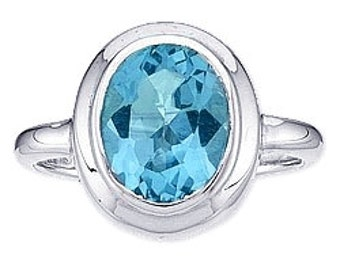 Sale Blue Topaz and Sterling Silver Ring Size 8