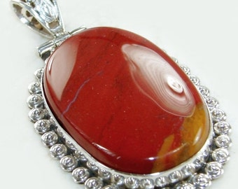 Sale: Big Red Jasper Sterling Silver Pendant
