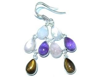 Sale: Gemstone Sterling Silver Earrings