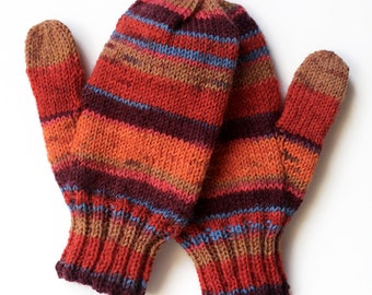 Kids Mittens. Thumbed Hand Knit Mittens. Wool Winter Mittens With Thumbs. Childs Striped Orange Mittens. Children 2 to 4 Years Wool Gloves