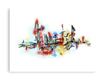 Abstract Graffiti Art Canvas Print: Blue Note