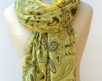 Large summer scarf, Mustard yellow Vintage Scarf  Dupatta beach cover up large shoulder veil stole shawl paisley