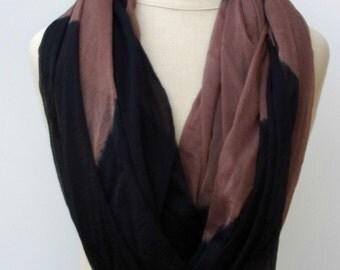 Summer scarf, Black latte Infinity scarf, Loop scarf, circle scarf, handmade from Indian dupatta Eternity Ethnic hippie Boho Bohemian scarf