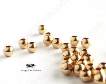 100 pcs 2mm 14k Gold Filled Seam Beads Round Spacers B39GF