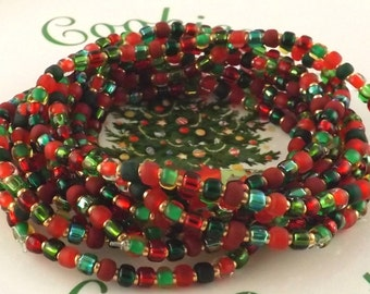 Happy Holidays adorable red and green and gold set of ten stretchy Christmas bracelets SIZE L 7  1/2 inches