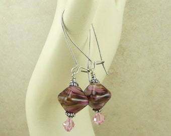 Luscious Black Forest Lampwork Crystal Beads & Swarovski Earrings - Chocolate Brown Pink  Mocha - Surgical Steel Kidney Ear Wires E1-30