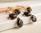Smoky Quartz Cascade Earrings. Dangle Earring. Drop Earring. Artisan. Jewelry.