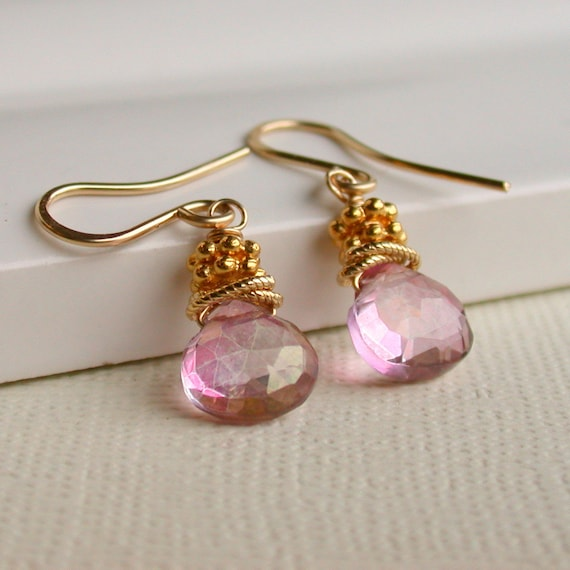 Mystic Pink Wrapped Drops.  Dangle Earring. Drop Earring. Artisan. Jewelry.