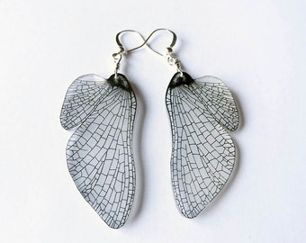 Mayfly wing dangle earrings in black