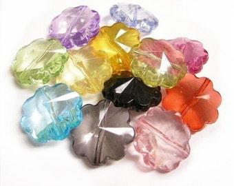12pc mix color acrylic transparent flower beads-1764