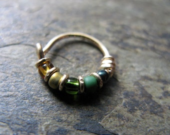 loki hoop-- supervillain nose ring or hoop earring-- handmade by thebeadedlily