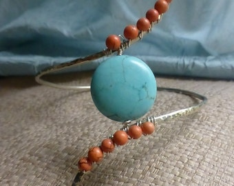 Upper Arm Cuff ~ Turquoise & Coral Bohemian Body Jewelry