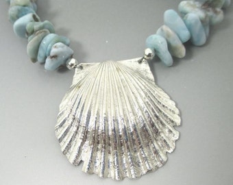 Larimar and .999 Fine Silver Shell Sterling Silver Necklace