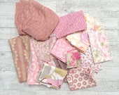 Pink floral cotton fabric discount offcuts sale pack.