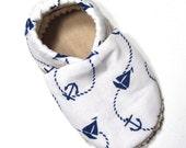 White Nautical Soft Soled Baby Shoes 12-18 mo