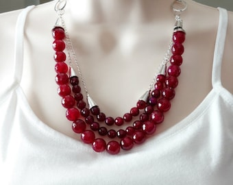 ON SALE Triple Strand Necklace, Raspberry Agate Gemstones, Beaded Necklace and Earrings, Silver Chain, Red, Cranberry, Burgandy, Wine