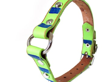 Leather Dog Collar in Blue and Green with Center Ring, to fit a 12-15in Neck, EcoFriendly, Seattle Seahawks Inspired, OOAK