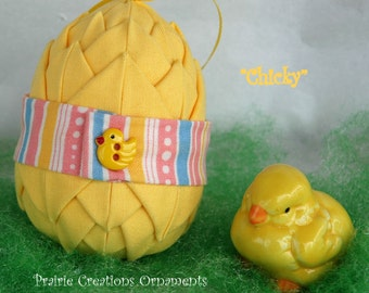 Spring Chick - Quilted Layered Easter Egg Ornament or Decoration