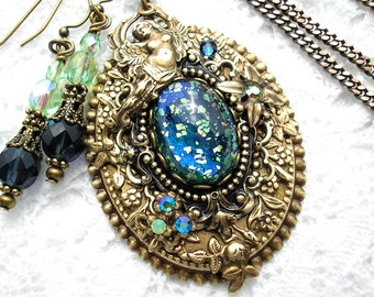 Starry Night Brass Goddess Glass Opal Pendant and Earring Set Vintage Style Pendant