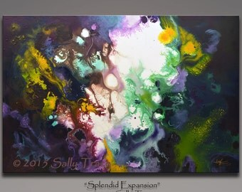 Original Abstract Painting, Acrylic on Canvas, 24x36 inches, Fluid, Cosmic, Space Art Wall Art by Sally Trace, living room art