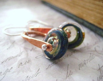 Lampwork Earrings, Blue Green Glass, Teal Glass Discs, Mixed Metals, Sterling Silver, Fine Silver, Pure Copper, Hand Forged, Womens  jewelry