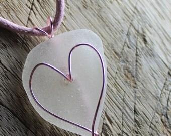 Sea Glass Necklace - Beach Glass Heart Wrap Jewelry - BE MINE - Teen Jewelry