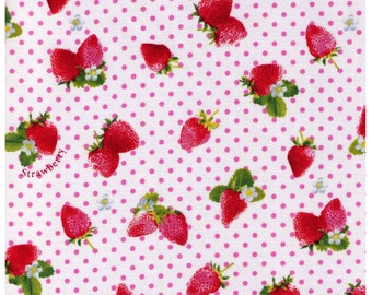 HALF YARD - Kawaii Strawberries on WHITE with Pink Polka Dots -  White Flowers, Sweets, Daisies, Leaves - Cosmo Textile Imported Japanese