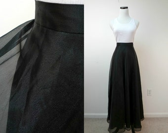 TO THE PARTY . 1990 vintage black sheer long skirt . size 12