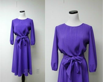MISS CLASSIC . purple full skirt dress . small to medium . made in USA