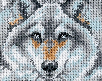 Mini NEEDLEPOINT KIT - Call of the Wolf - 5 Inch x 5 Inch