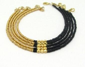 Beaded Friendship Bracelet, Black Gold Glass Beads, Seed Bead Bracelet, Minimal Jewelry, Dainty Tiny Modern, Layer Stacking, Hawaii Jewelry